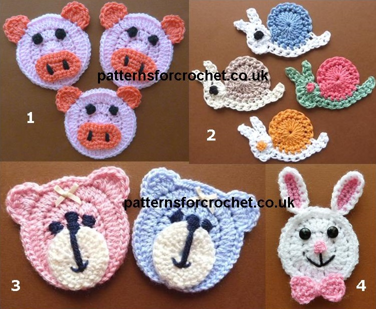 Free Animal Face Applique Crochet Patterns Crochet N Create