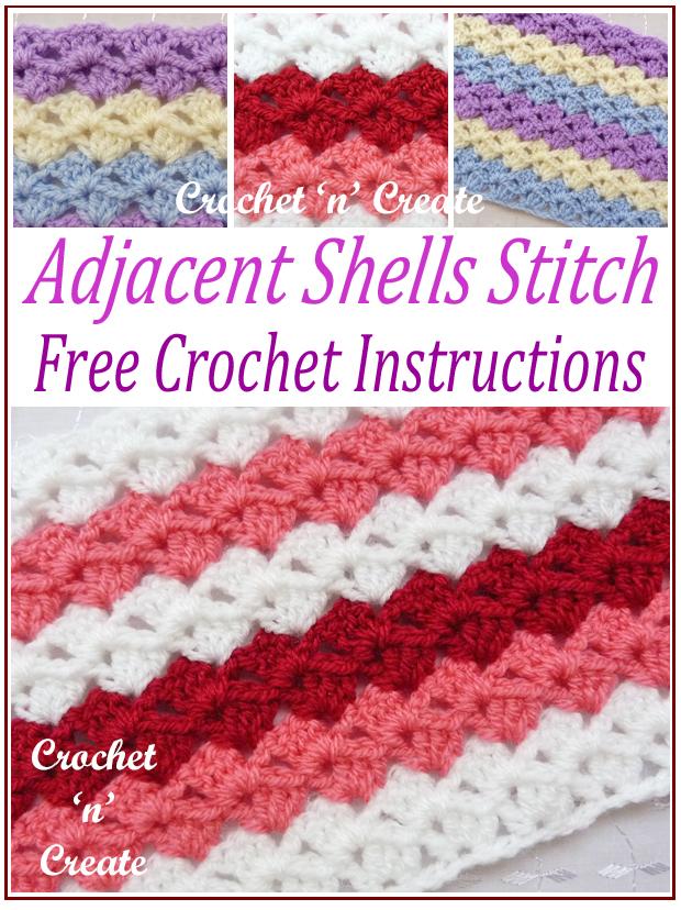 adjacent shells crochet stitch