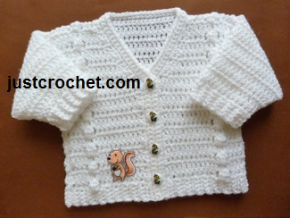 Free baby V-neck cardigan pattern-white
