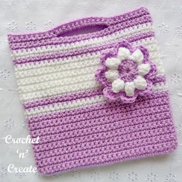 free crochet girls flower bag