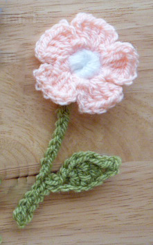 crochet flower peach