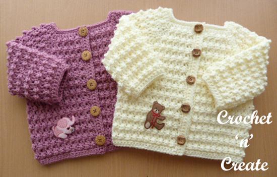 crochet knobbly baby cardi