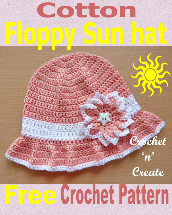 cotton floppy sun hat free crochet pattern