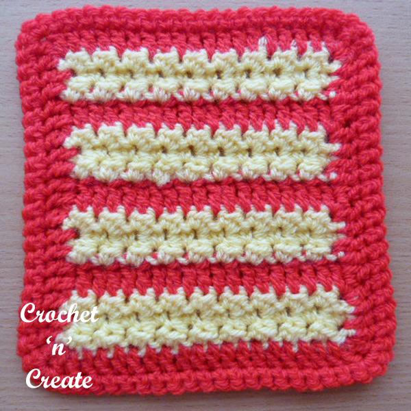red crochet motif