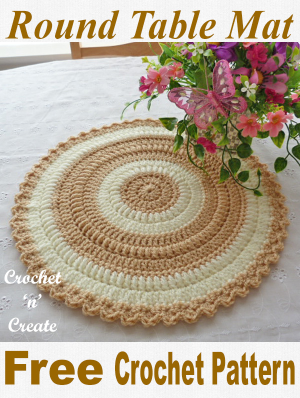 Round table mat free crochet pattern
