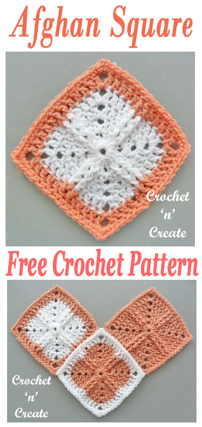 Crochet afghan square UK format, free crochet pattern