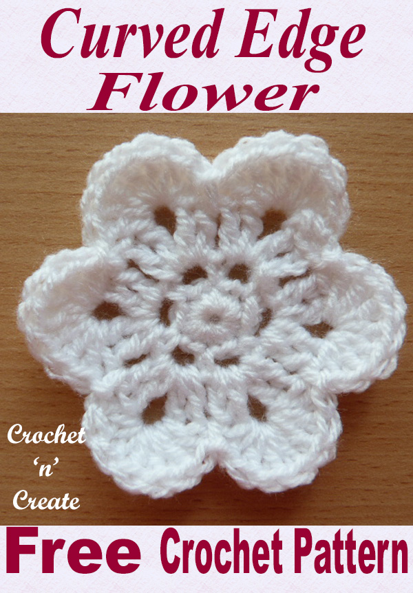 curved edge flower free crochet pattern