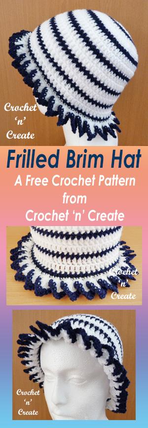 Free frilled brim hat UK crochet pattern