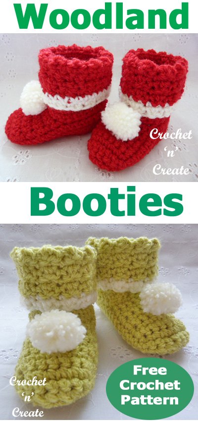 woodland booties free baby crochet pattern