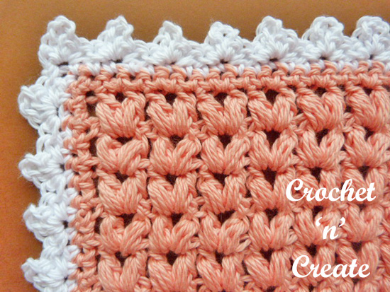 puff stitch dishcloth corner
