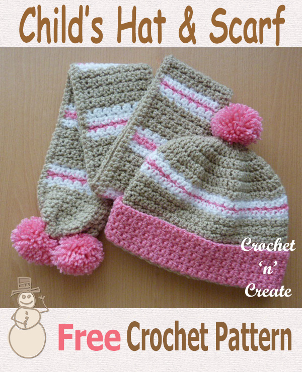 child hat and scarf free crochet pattern