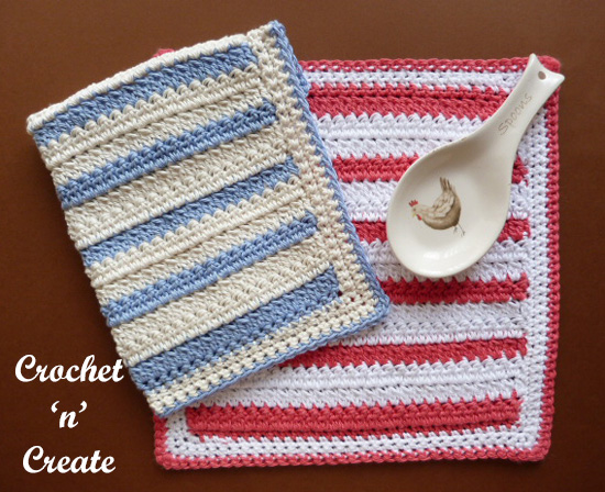 crochet two cluster dishcloth