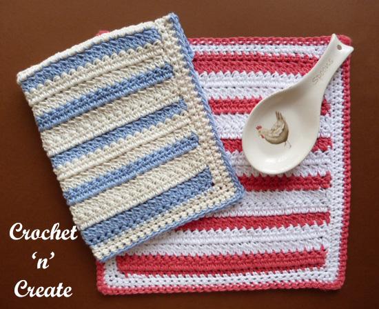 crochet two cluster dishcloth