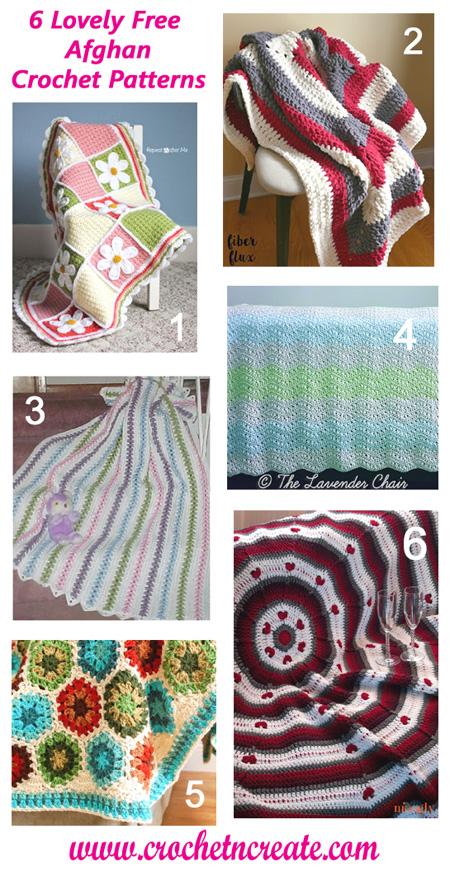 six free crochet afghan blankets
