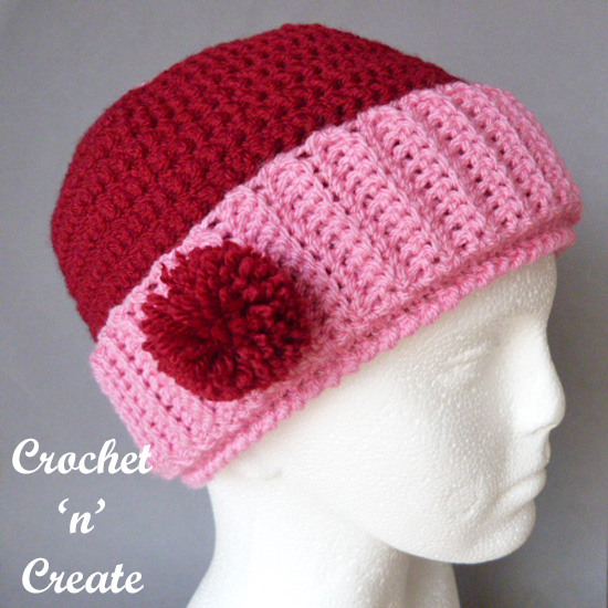 crochet pom-pom beanie hat uk