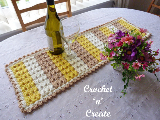 crochet dining table runner