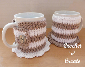 crochet mug cozy coaster