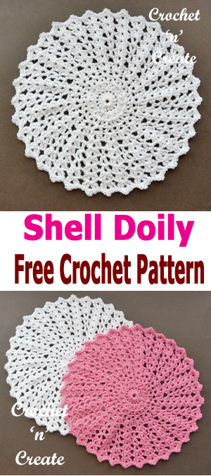 Pretty shell doily, free crochet pattern, make for your tables and tops around your home #crochetncreate #crochetdoily #freecrochetpatterns