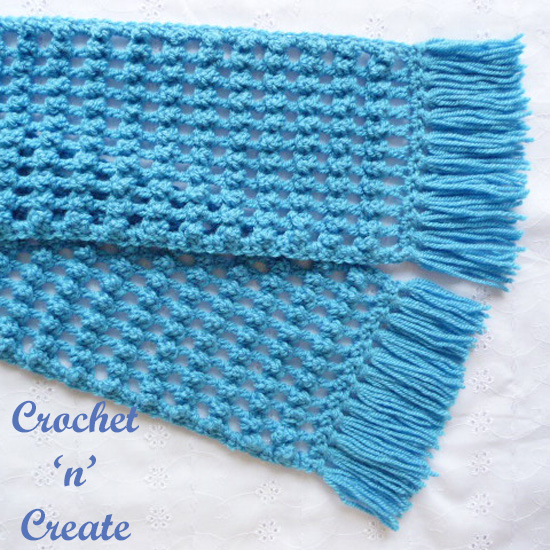 crochet filet bobble scarf