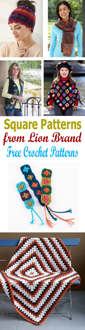 granny square patterns lion brand