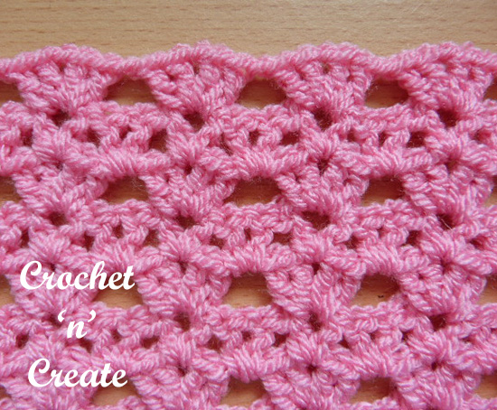 crochet shell tiers stitch