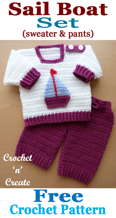 Crochet baby sail boat outfit