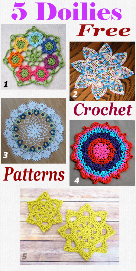 5 Free crochet patterns for pretty doilies