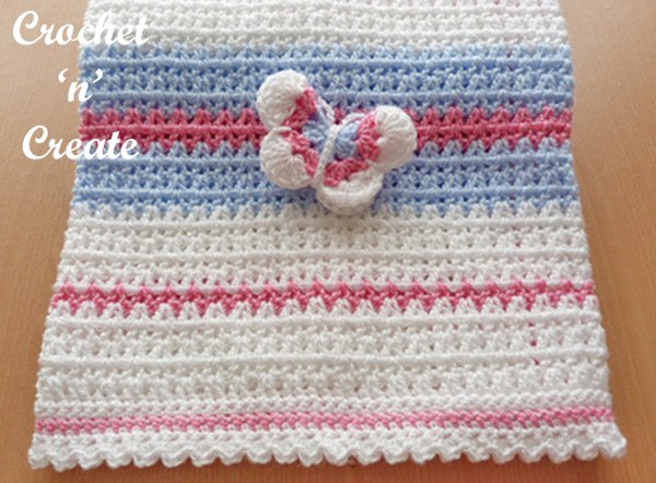 Crochet Butterfly baby blanket UK free crochet pattern