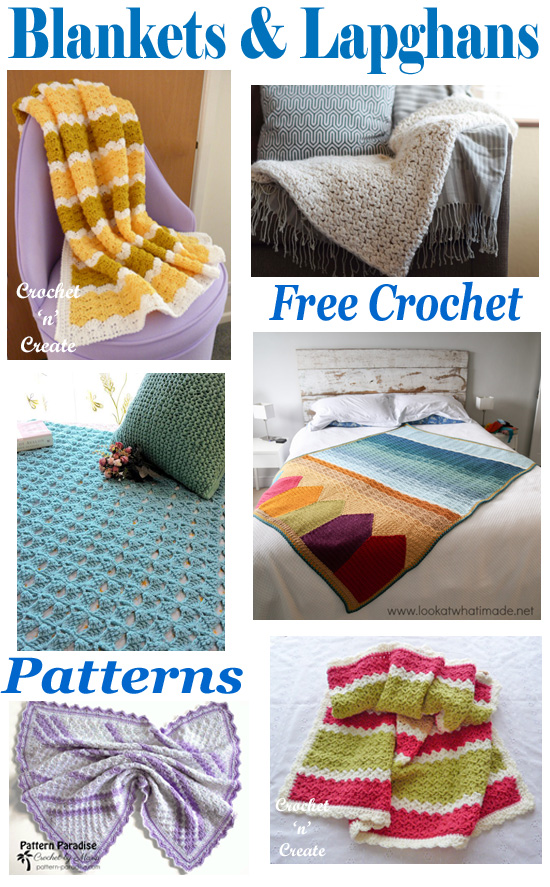 blankets-lapghans free crochet patterns roundup