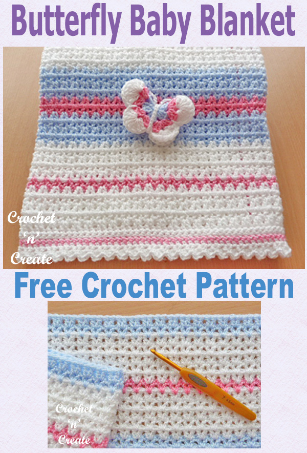 Crochet butterfly baby blanket UK format, free crochet pattern