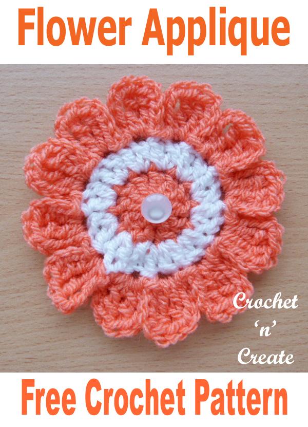 Crochet flower applique uk free crochet pattern