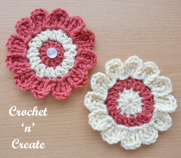 free crochet pattern flower applique