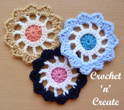 crochet flower wheel