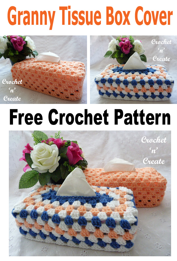 Crochet granny tissue box cover free crochet pattern