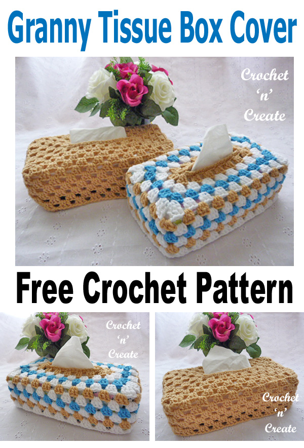 Crochet granny tissue box cover uk format