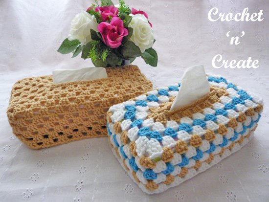 crochet granny tissue box cover UK