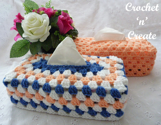 crochet granny tissue box cover
