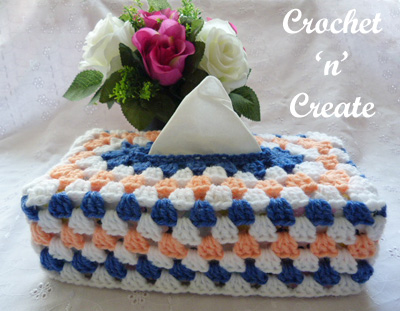 crochet granny tissue box