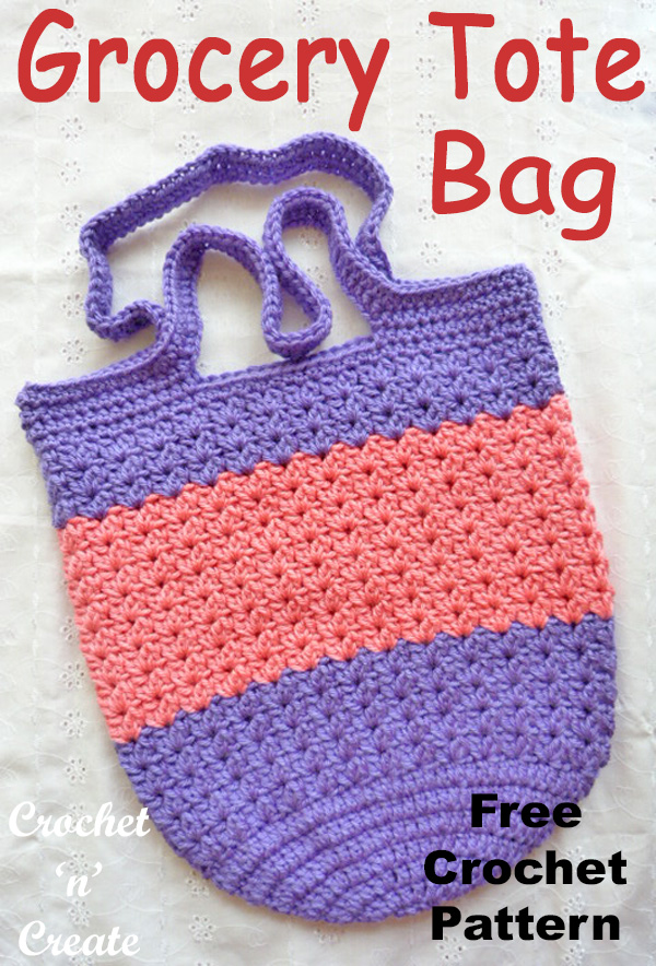 Crochet grocery tote bag FREE crochet pattern