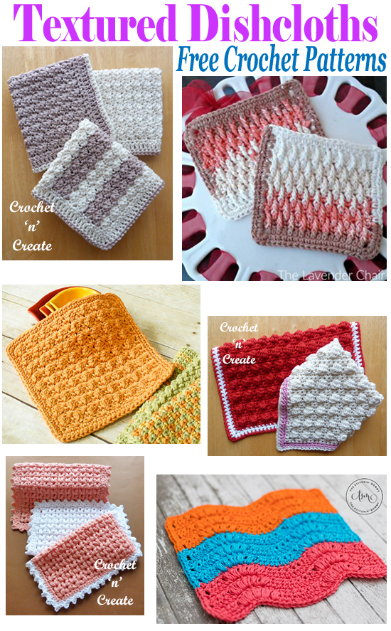 Free crochet patterns textured dishcloths roundup