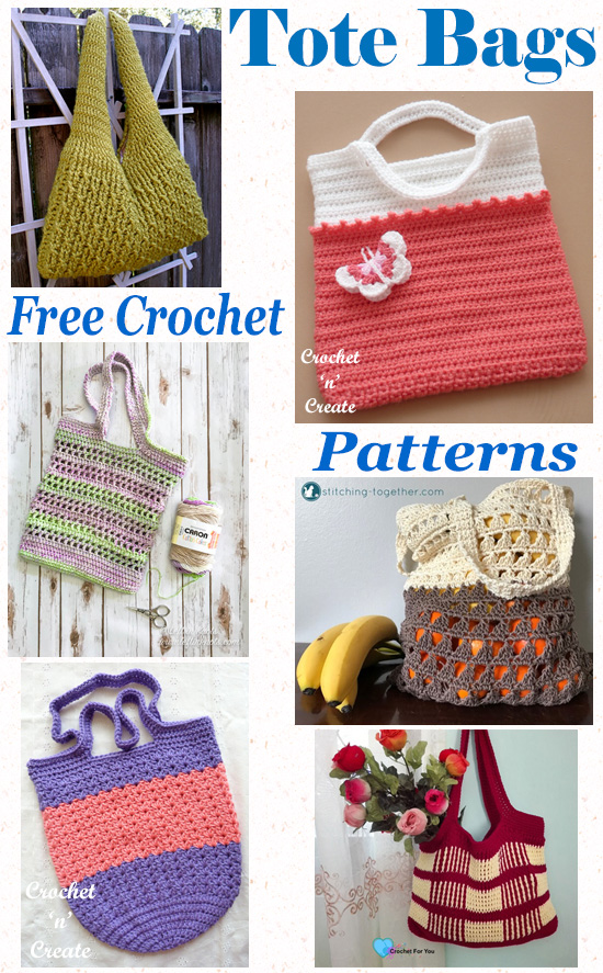 Free crochet pattern tote bag roundup