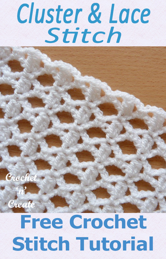 Free crochet stitch tutorial lace cluster