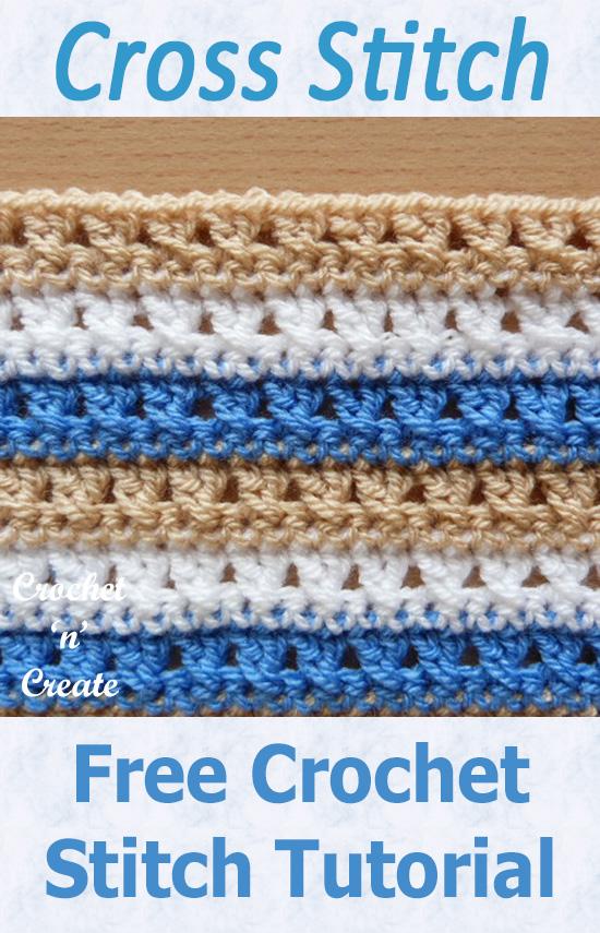 Free crochet stitch tutorial-cross stitch