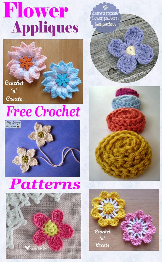 Free crochet pattern roundup-flower appliques