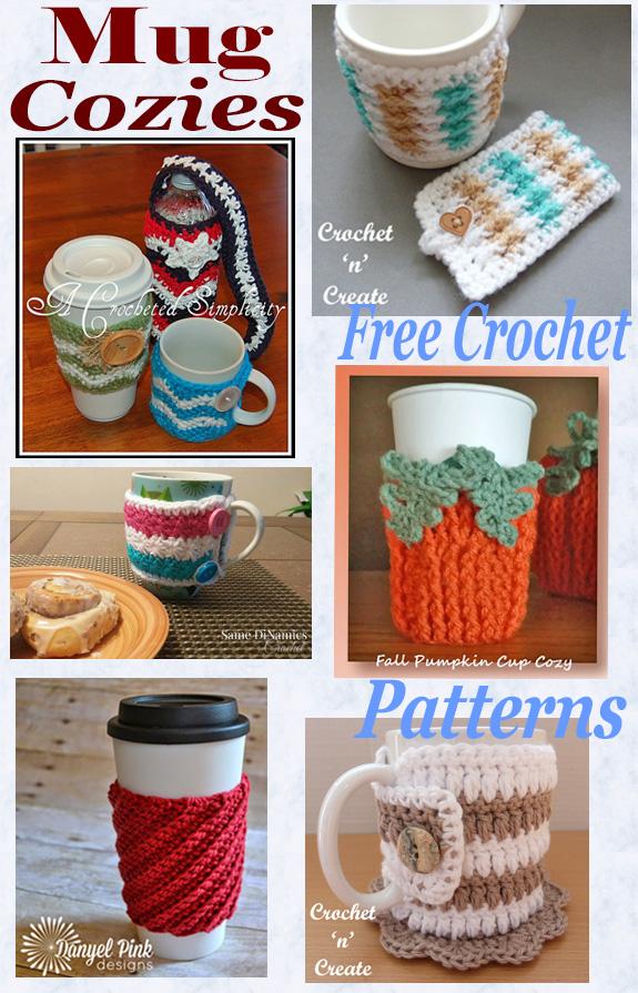 Free crochet pattern roundup-mug cozies