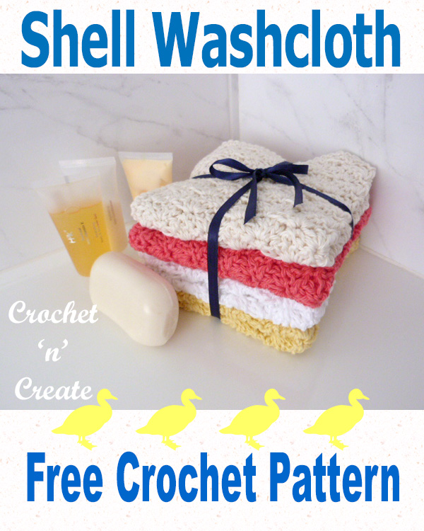 Free crochet pattern shell washcloth