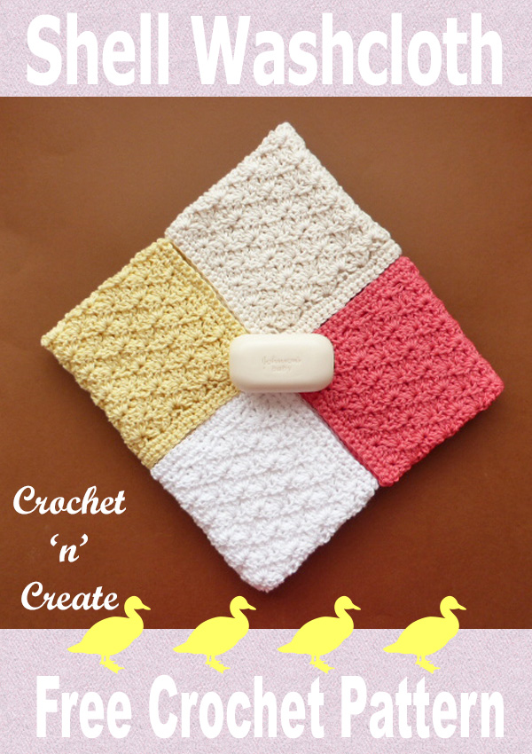 Free crochet pattern shell washcloth UK