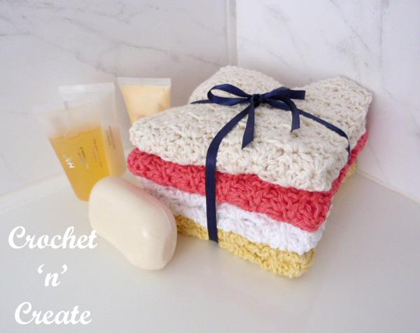 Free crochet pattern shell washcloth