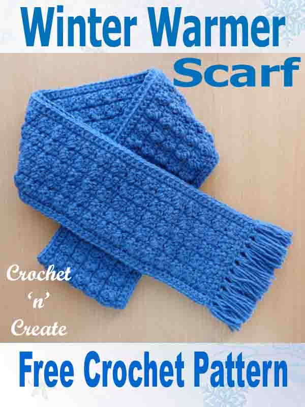 Free crochet pattern-winter warmer scarf
