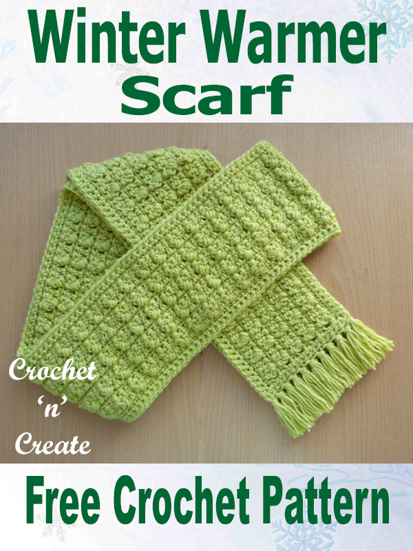 Free crochet pattern-winter warmer scarf uk